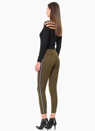 Que Şerit Detaylı Skinny Pantolon Haki
